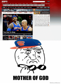 """OMG ESPN acknowledged the Knicks existence!  -Tommy credit New York Mets Memes New York Knicks Memes: E-Fi I  NCAAM NA  SCAR SOCCER  GilaiiMorgan.anRE  THE ADVENTURE """"  CHECK MY BRACKET-  HIGHLIGHT  or THE NIGHT  the reds  Too Hot To Stop  MOTHER OF GOD  WeKnowMemes OMG ESPN acknowledged the Knicks existence!  -Tommy credit New York Mets Memes New York Knicks Memes"""