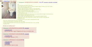 4chan, Ass, and Blade: E File: images (5). jpg (31 KB, 510x601)  815162914 »815163953 >>815164990  Anonymous 11/29/19(Fri)22:49:28 No.815162001 [Reply]  >be  >have japanese ass blaster toilet seat  never wiped until you've blasted an enema strength stream of water up your own asshole  >wake up and immediately play osrs  >hungover high from having smoked a lot the night before  on 4chan watching elephants kill people while taking a shit  launch my pressurized ass water cannon  >lI always keep on on min anything higher starts to hurt  PIt was turned up to max  >a pure blade of clorinated hell water pierces my asshole with the might of a thousand suns  >feels Poseidons wrath keep into  colon  actually had amnything penetrate my ass up until this fateful moment  >never  >desperately tap the close video button in order to get my toilet to stop raping me  confused as fuck  >tilt over so only my ass check is being bruised to help  >this starts splashing water all over my toilet wall  finally hit the stop button on the other side of the toilet.  >sit there grimacing while a litre of poo juice and possibly blood drains from my ass carriage  >squeaky clean  How was your morning anons?  Anonymous 11/29/19(Fri)23:08:24 No.815162914  815164990  >815162001 (OP)  How'd you get weed in Japan? Thought they we more of a stimulant crowd  Anonymous 11/29/19(Fri)23: 27: 19 No.815163953  »815164990  815162001 (OP)  In soviet japan, toilet piss in YOU  >>  Anonymous 11/29/19(Fri)23:47:16 No.815164990  >815162001 (OP)  >815162914  815163953  God, you fuckers make me cringe Anon Had a rough morning