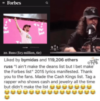 "Friends, I Bet, and Memes: E Forbes  3 of 24  2018 Natt Lim  20. Russ ($15 million, tie)  Liked by bymidas and 119,206 others  russ ""I ain't make the deans list but I bet make  the Forbes list"" 2015 lyrics manifested. Thank  you to the fans. Made the Cash Kings list. Tag a  rapper who shows cash and jewelry all the time  but didn't make the list Tag them ⬇️ ( via @oldmanebro ) Follow @bars for more ➡️ DM 5 FRIENDS"