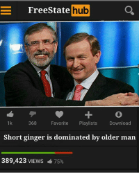 Free and Irish Republican: E Free State  hub  368  Favorite  Playlists  Download  1 k  Short ginger is dominated by older man  389,423 VIEWS  75%