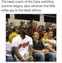 Cavs, Head, and Sports: e head coach of the Cavs watching  summer league, plus whoever that little  white guy in the black shirt is. tru 😂