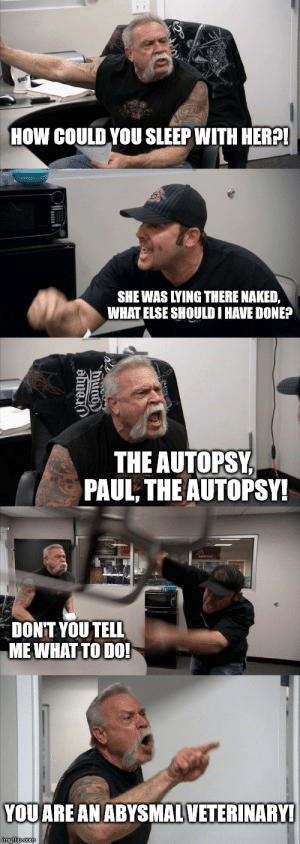 This punched me in the gut three times.: E  HOW COULD YOU SLEEP WITH HER?!  SHE WAS LYING THERE NAKED,  WHAT ELSE SHOULD I HAVE DONE?  THE AUTOPSY  PAUL, THE AUTOPSY!  DONT YOU TELL  MEWHAT TO DO!  YOU ARE AN ABYSMALVETERINARY!  imgflip.com  ama This punched me in the gut three times.