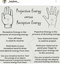 Feeling Used: e kaybee  Projective Energy  versus  Receptive Energy  Pojective Energy is the  Receptive Energy is the  process of receiving energy  process of directing energy  Your off hand  3 Your dominant hand  is used to receive.  is used to project.  Hold your hand out or  Hold items in your  point your finger to  receptive hand to draw  and absorb energy from item. project your energy out  to the universe.  Use you receptive hand to feel  Use your projective hand to  the energy of an object.  infuse energy into objects  Hold a person's prejective hand to  and send healing vibrations.  receive energy from them.