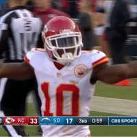 Memes, Cbs, and 🤖: e) KC 33 SD 17 3RD 0:59 | CBS SPORT Tyreek Hill can FLY (peep him knocking his blockers down) 😧🔥 Speed TOOQuick