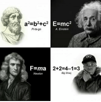 Memes, Shaq, and Einstein: E=mc2  a2-b2+c2  Pi-ta-go  A. Einstein  F=ma  2+2-4-1-3  Big Shaq  Newton