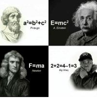 Memes, Shaq, and Einstein: E=mc2  Pi-ta-go  A. Einstein  F-ma  Newton  2+2-4-1-3  Big Shaq Quick maffs