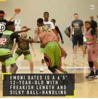 """The next KD? At 6'5"""" and just 12 years old, Emoni Bates is already shocking the world with his length and handle (@hoopdiamonds): E MONI BATES IS A 6'5""""  1 2 YEAR- OLD WIT H  FRE A KISH LEN G TH AND  SILKY BALL HAN D LIN G  br The next KD? At 6'5"""" and just 12 years old, Emoni Bates is already shocking the world with his length and handle (@hoopdiamonds)"""