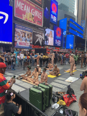 Just another ordinary day in Times Square, NYC: E MOVEMENT  YO NNNNA SIT WITH US  MEAN GIRIS  GLOBAL  CITIZEN  npr  PLAY  NPR  ET  FESTIVAL  MEANGIRLSONBROADWAY.COM  n your  eaker  MUSIC BY  JEFF RICHMOND  DAUGUST WILSON THEATRE  245 W.52ND ST  ONOGANMD  NELL BEAMIN CASEY NHOLA  kr  POWER THE MOVEMENT  OUTFRONT/PRIME  WALO  R$  CLOSING UP! JANUARY 5AND AUL THAT JAZZ  LAST CHANCE FOR A SLICE OF HAPPINESS  SMARONSK GLOBAL  SARA  BAREILLES  kr.  PRESENTS  CITIZEN  FESTIVAL  W 47 St  lo or D  COEO CEAVE  BLUE FIN DOS CAMINOos  WAITRESS CHICA  FOOD-SUSHI  C BAicha NYC HOTDOGS HOTDOG  WINE HOT DOGS BEER  THE MUSIC  PRETZELS  E  FIUNERS  OC BAO  DROFT BELR WINE  THE HIT BROADWAY MUSICAL  AMBASSADOR  BROOKS ATKINSON THEATRE 256 W.47TH ST. WAITRESSTHEMUSICAL.COM  C x.com us  DRAN D  LA GRANDSLAN Tcm AN .o  45  Vst us a  TOYOTA  Toyota.com  RECYCLE RECEE THIS  VE  0AVEOT COM  AA Just another ordinary day in Times Square, NYC