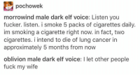 Stolen from someone who stole it from someone who stole it from someone: E pochowek  morrowind male dark elf voice: Listen you  fucker. listen. i smoke 5 packs of cigarettes daily.  im smoking a cigarette right now. in fact, two  cigarettes. i intend to die of lung cancer in  approximately 5 months from now  oblivion male dark elf voice: l let other people  fuck my wife Stolen from someone who stole it from someone who stole it from someone