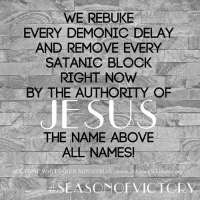 E REBUI EVERY DEMONIC DELAY AND REMOVE EVERY SATANIC BLOCK RIGHT NOW