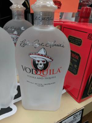steph-gregory:  pics: E ROAD  l&ve Cyou  COFFEE LIQUEUR  Mlewit Sier Patrn Teila  WDE AGAVE  Cacis Gre cyouies  RON  E DARK  B  TM  10  VODUILA  POOP  VODKA AND TEQUILA  40% ALC.BY VOL. (80 PROOF)  7SO ML  $24.49  VODOUILA So steph-gregory:  pics
