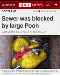 A large pooh: E Sections  BBC NEWS AA  SCOTLAND  Sewer was blocked  by large Pooh  Last updated 17 Feb 2014 00:03 GMT  SCOTTISH WATER  A Winnie the Pooh teddy bear was found dumped in  a manhnie in Fast Kilhride Snuth I anarkshire A large pooh