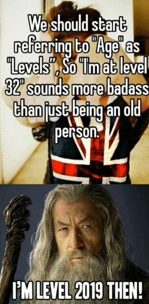 """Star, Badass, and Old: e should star  Il  evelso lmat leve  32"""" sounds more badass  Chanfust being an old  person.  IM LEVEL 2019 THEN You can level up once a year and no stat bonuses too"""