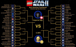Anakin Skywalker, Darth Vader, and Death Star: E STAR  WARS  LEGO  Imperial Spy  Luke Skywalker (Hoth)-  Luke Skywalker (Dagobah)  Man Solo  Best Character Tournament  Hosted by Lego Star Wars ll-core  Skiff Guard  C-3PO  Rebel Friend  Bosak  imperial Guard  oba Fett  Luke Skywalker (Bespin)  Greedo  Bespin Guard  The Emperor  Grand Moff Tarkin  IG-88  NARebel Trooper  IE Fighter Pilot  :-幻  Admiral Ackbar-  Gamorrean Guard  Imperial Spy  Rebel Trooper (Hoth)  Gonk Droid  ﹂  Ben Kenobi (Ghost)  -Tusken Raider  VS  Palace Guard  Princess Leia BespinyO  Luke Skywalker (Pilot)  Luke Skywalker (Tatooine)  Darth Vader  Han Solo (SkiffC  ーSnowtrooper  Stormtrooper  Yoda (Ghost)  Death Star Trooper  Princess Leia (Hoth)  Sandtrooper  -Princess Leia (Slave)  -Yoda  --  A  C-3PO  -_ Rebel Pilot  Bib Fortuna  Luke Skywalker ued)  Han Solo(Hoth/Hood)  Luke Skywakr  Beach Trooper  Luke Skywalker (Endor)  Lobot  Lando (Palace Guard)  Princess Lela (Prisonen  Princess Lela (Boushh)  Captain Antilles  ..  .-Lando Calrissian  R2-D2  Han Solo (Endor)  -Ben Kenobi  -Princess Leia (Endor)  -Anakin Skywalker (Ghost)  ー  Han Selo (Stormtrooper) I've decided to keep the current, larger tournament format for round two. As I've already commented on the characters prior, only semi-finalists and finalists will have writeups. Now, for round two.  <3 - Imperial Spy :'( - C-3PO