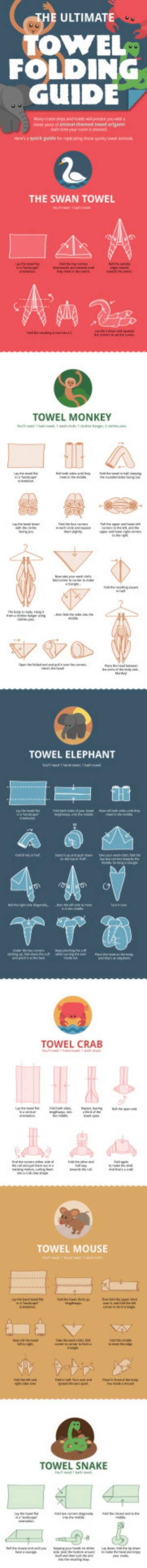Omg, Tumblr, and Blog: E ULTIMATE  OWEL  FOLDING  GUIDE  towel origam  THE SWAN TOWEL  TOWEL MONKEY  TOWEL ELEPHANT  TOWEL CRAB  TOWEL MOUSE  TOWEL SNAKE omg-images:  The ultimate towel folding guide. Save for later to impress someone.