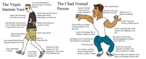 """The Virgin Internet Nazi vs. The Chad Normal Person: e Virgin  Internet Nazi  Got weird Macklemore  haircut because of Richard  Spencer  Mhwthd MaclThe Chad Normal  Has normal haircut  Person  Knows The Bell  Curve has been  widely debunked  Denounces all raci  superiority theories  Still has love of  family and friends  Denies the Holocaust,  but wishes it was real  Thinks white people will be  exterminated due to  outbreeding, never has sex  Doesn't creep out  women, actually has sex  Has definitely read the Bell  Curve, thinks Charles Murray  is oppressed for his V1ewS  Blames all problems in  own life on JewS  Knows that environment  is better predictor of IQ  than race  Doesn't spend all day on the  internet, has fulfilling social  Knows the Kalergi Plan is  a fringe conspiracy theory  Wears cargo shorts  Thinks that genetics  determine IQ  es weird crypto  Kecogniz  fascist propaganda on reddit,  doesn't fall for it  Posts on  Recognizes most Americans are  descended from immigrants  CringeAnarchy  Has isolated himself from  all friends and loved ones  Wears blue jeans  Burned his Nikes  because of Colin  Kaepeen  New Balances now  Knows the holocaust  happened and that it can  never be allowed to again  Only masturbates  Never threw out Nikes  respects Kaepernick's  protest of police violence  an  1h  ick, only wears  Iim an asia  Doesn't think Jews hatched 100yr  supremacist""""  lan to exterminate white people The Virgin Internet Nazi vs. The Chad Normal Person"""