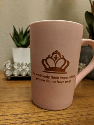e world only think impassabil  people do not have to go I purchased this mug to provide my wife the inspiration she needs to tackle the toughest days.