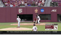 Memes, Mlb, and Game: E1 Out  SJU  MORE 4  RESUMES 5:30 ET  ACC  NCAA  43  TALLAHASSEE RECIONAL  ELIMISATİON GAME  7Florida St  2  BOT 9  15  Mississippi St 0  1-2 2Outs Pitches 132  MLB  Giants 1B Brandon Belt had his appendix removed after leaving Friday's game v Elimination game, down 2, 2 outs, 2 on.... 💪😍 https://t.co/dXoQefn6IL