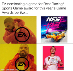 Be Like, Facepalm, and Fifa: EA nominating a game for Best Racing/  Sports Game award for this year's Game  Awards be like...  NFS  EA  EA  SPORTS  odlaos  FIFA20  Emirates  FIFA  EA  made with mematic WHY THO?!