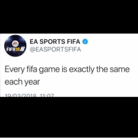 Good afternoon let's get this bread: EA SPORTS FIFA  EASPORTSFIFA  FIFA18@E  Every fifa game is exactly the same  each year  1010212018 11.07 Good afternoon let's get this bread