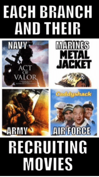 army vs marines: EACH BRANCH  AND THEIR  NAVY  MARINES  METAL  JACKET  ACT  VALOR  Cadayshack  ARMY  AIR FORCE  RECRUITING  MOVIES