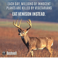 Memes, Vegetarian, and Vegetarianism: EACH DAY, MILLIONS OF INNOCENT  PLANTS ARE KILLED BY VEGETARIANS  EAT VENISON INSTEAD  Bushnell Venison > Everything.
