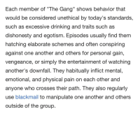 """Excessive Drinking: Each member of """"The Gang"""" shows behavior that  would be considered unethical by today's standards,  such as excessive drinking and traits such as  dishonesty and egotism. Episodes usually find them  hatching elaborate schemes and often conspiring  against one another and others for personal gain,  vengeance, or simply the entertainment of watching  another's downfall. They habitually inflict mental  emotional, and physical pain on each other and  anyone who crosses their path. They also regularly  use blackmail to manipulate one another and others  outside of the group"""