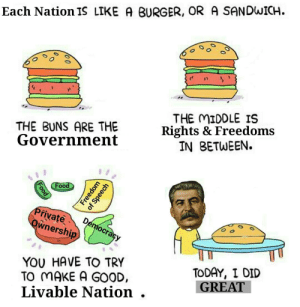 Nation Building 101: Each Nation IS LIKE A BURGER, OR A SANDWICH.  THE BUNS ARE THE  Government  THE MIDDLE IS  Rights & Freedoms  IN BETWEEN.  wnersh  YOU HAVE TO TRY  TO MAKE A GOOD,  Livable Nation .  TODAY, I DID  GREAT Nation Building 101