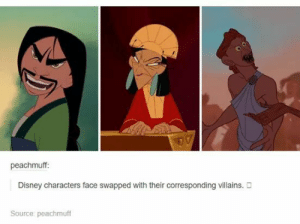 Disney, Omg, and Tumblr: eachmuff:  Disney characters face swapped with their corresponding villains. D  Source: peachmuff Just.. No.omg-humor.tumblr.com