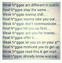 Chill, Memes, and Money: eak N ggas act different in public  Real Nggas stay the same....  eak Nggas wanna chill  Real N ggas wanna take you out....  Weak N'ggas don't communicate  Real N ggas hit you up first...  Weak N ggas ask you for money.  Real N'ggas offer it...  ..  eak N ggas let you sit on your a**.  Real N ggas motivate you to get up.  eak N*ggas read this & get mad  Real n'ggas already know wassup 💯