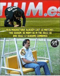 Memes, Lost, and 🤖: EALMADRID HAVE ALREADY LOST 10 MATCHES  THIS SEASON,AS MANY AS IN THE 2015/16  AND 2016/17 SEASONS COMBINED  ORGANIZATION When will the misery end for Madrid fans? 😂🗑😳 Sadness L
