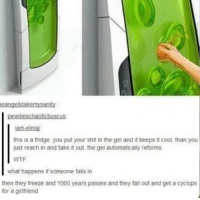 America, Fall, and Memes: eangelstakemusanity  pestudieschaotisbuscus  iam-eimaj  this is a fridge, you put your shit in the gel and it keeps it cool, than you  just reach in and take it out the gel automatically reforms.  WTF  what happens if someone  falls in  then they freeze and 1000 years passes and they fall out and get a cyclops  for a girlfriend Futurama? Star Wars? Captain America? Idk man this is interesting. -Cat