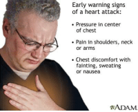 chest pain: Early warning signs  of a heart attack:  Pressure in center  of chest  Pain in shoulders, neck  or arms  Chest discomfort with  fainting, sweating  or nausea  ?ADAM.