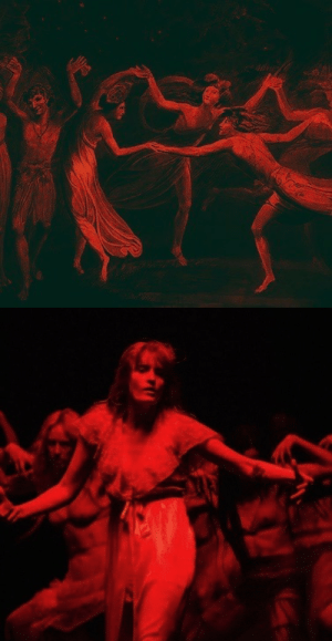 earnedmagic:  william blake, titania and puck with fairies dancing (detail), 1786 / florence welch and her witches, big god, 2018: earnedmagic:  william blake, titania and puck with fairies dancing (detail), 1786 / florence welch and her witches, big god, 2018
