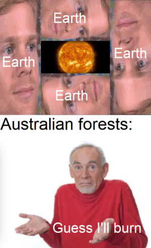 A bit more creative than the 100 other versions of this format: Earth  Earth  Earth  Earth  Australian forests:  Guess l'll burn A bit more creative than the 100 other versions of this format