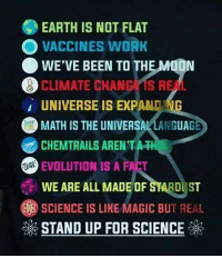 "Confused, Head, and Work: EARTH IS NOT FLAT  VACCINES WORK  WE'VE BEEN TO THE N  CLIMATE CHANG IS REAL  UNIVERSE IS EXPAND IG  MATH IS THE UNIVERSAL LANGUAG  CHEMTRAILS AREN'T AT  EVOLUTION IS A FACT  WE ARE ALL MADE OF STARDU ST  SCIENCE IS LIKE MAGIC BUT REAL  STAND UP FOR SCIENCE (W)  For all of you still confused, and with fingers itching to type: ""Evolution is just THEORY"" - we will save you from making a fool out yourselves.   A word like 'theory' is a technical scientific term, The fact that many people understand its scientific meaning incorrectly does not mean we should stop using it. It means we need better scientific education.  A scientific theory is an explanation of some aspect of the natural world that has been substantiated through repeated experiments or testing. But to the average Jane or Joe, a theory is just an idea that lives in someone's head, rather than an explanation rooted in experiment and testing.  - bit.ly/What-Is-Scientific-Theory"