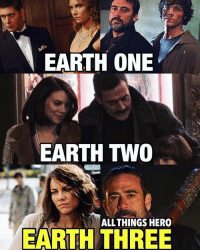 Batman, Crazy, and Memes: EARTH ONE  EARTH THO  EARTH ALL THINGS HERO  THREE Isn't it crazy how these two end up in the same stuff? I blame barryallen 😂😂 laurencohan watchmen supernatural batmanvsuperman batman marvel dc thecw