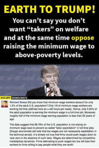 """exploitation: EARTH TO TRUMP!  You can't say you don't  want """"takers"""" on welfare  and at the same time oppose  raising the minimum wage to  above-poverty levels.  OCCUPY DEMOCRATS  Richard Sessa Did you know that minimum wage workers account for only  1.2% of the adult U.S. population? Only 1 /5 of minimum wage workers are  working full time (defined here as >-40 hours per week). Hence, only 0.24% of  the adult population is earning the minimum wage in a full-time job. Moreover,  roughly half of the minimum wage earning population is less than 25 years of  age.  The data suggest that 99.76% of the U.S. population is not relying on  minimum wage laws to prevent so called """"labor exploitation"""" in full-time jobs.  (though economists will note that low wages are not necessarily exploitation in  the technical sense). It is simply not true that firms would push wages down to  near zero in the absence of such laws. Wages are determined by competitive  marketplace dynamics. Firms attempting to push wages too low will lose their  workers to firms willing to pay people what they are worth."""