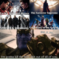 """Memes, Supreme, and Earth: Earths Mightiest Heroes  The Sorcerer Supreme  SHIELD & ns  Guardians of the Galaxy  @AGE OF WAR  I'm gonna kill the holy shit out of all of you. Who will be the first to die?   Credit: """"age_of_war_"""" (IG)   #Thanos #MadTitan #InfinityWar"""