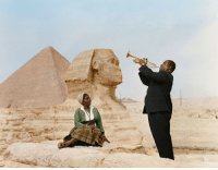 Energy, Love, and New York: earthshaker1217: serafino-finasero: Louis Armstrong serenading his wife, Lucille Wilson, in front of the Great Sphinx of Giza and the Pyramid of Khufu in Giza, Egypt, late 1960 or early 1961 | colourised version of an originally black and white photograph featured in The New York Times in 1961 | credit: AP  Big love energy