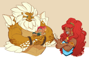 "earthsong9405:  Sneak peek of an LoZ sketchdump I plan on doing, in which it'll focus mostly on character interaction! :3For context of this one, Urbosa has just introduced old friend Daruk to Riju (whom is Urbosa's daughter in my headcanon). Gorons have no real concept of ""newborns"" since their children are durable and able to run/walk on their own days after hatching, so they tend to marvel at how small and helpless the babies of the other races are. Daruk here's afraid he'll break the kid if he moves wrong; Urbosa finds it sweet, if a little funny. uwuDef more character interactions to come, although suggestions for said interactions is welcome! <:: earthsong9405:  Sneak peek of an LoZ sketchdump I plan on doing, in which it'll focus mostly on character interaction! :3For context of this one, Urbosa has just introduced old friend Daruk to Riju (whom is Urbosa's daughter in my headcanon). Gorons have no real concept of ""newborns"" since their children are durable and able to run/walk on their own days after hatching, so they tend to marvel at how small and helpless the babies of the other races are. Daruk here's afraid he'll break the kid if he moves wrong; Urbosa finds it sweet, if a little funny. uwuDef more character interactions to come, although suggestions for said interactions is welcome! <:"