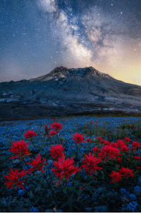 earthunboxed:  Milky Way over Mount St. Helens, Washington | by Steve Schwindt: earthunboxed:  Milky Way over Mount St. Helens, Washington | by Steve Schwindt