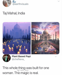 Memes, India, and Magic: @earthvisuals  Taj Mahal, India  @will_ent  Plant Based Papi  @chefkeva_  This whole thing was built for one  woman. The magic is real  lg: will ent It's called romance