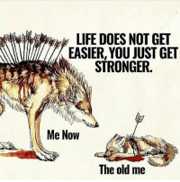 Memes, Old, and 🤖: EASIER, YOU JUST GET  STRONGER.  Me Now  The old me If you kick me when I'm down better pray I don't get up