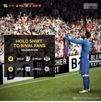 New celebration on Fifa 2018 messi leomessi: EASPORTS  HOLD SHIRT  TO RIVAL FANS  CELEBRATION  HOLD  LT  & PRESS  RS  HERDBLEA  HER  HOLD  L2  & PRESS  R3  @EASPORTS FIFA New celebration on Fifa 2018 messi leomessi