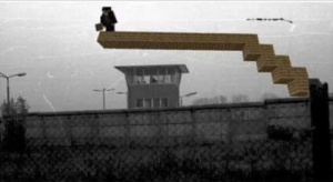 Eastern german trying to cross the berlin wall circa 1971: Eastern german trying to cross the berlin wall circa 1971