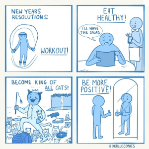 [OC] my 2020 resolutions: EAT  HEALTHY!  NEW YEARS  RESOLUTIONS:  TLL HAVE  THE SALAD.  WORKOUT!  BE MORE  POSITIVE!  BECOME KING OF  ALL CATS!  @ OKBLUE COMICS [OC] my 2020 resolutions
