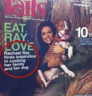 Rachael Ray, Inspiration, and Her: EAT  KEEP y  OVE  AND HAR  Rachael Ray  finds inspiration  in cooking  her famil  and her dog Commas matter, people
