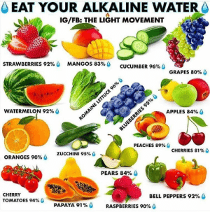 Memes, Water, and Alkaline Water: EAT YOUR ALKALINE WATER  IG/FB: THE LIGHT MOVEMENT  STRAWBERRIES 92%  MANGOS 83%  CUCUMBER 96%  GRAPES 80%  WATERMELON 92%  APPLES 84%  ROMAINE LETTUCE 96%  BLUEBERRIES 95%  PEACHES 89% O  ORANGES 90%  ZUCCHINI 95% 0  CHERRIES 81% 0  PEARS 84%  CHERRY  TOMATOES 94%  BELL PEPPERS 92%  PAPAYA 91%  RASPBERRIES 90% O RT @caloriedetails: Eat your alkaline water https://t.co/CJ3vTNuPON