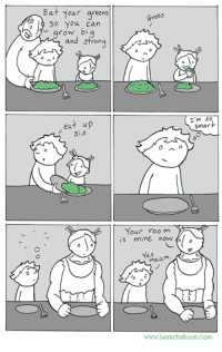 New comic about eating your greens! www.lunarbaboon.com: Eat your greens  So you can  grow bi  and strong  eat up  Sis  Gross  I'm  smart  Your room  is mine now  Yes  maa  www.lunarbaboon com New comic about eating your greens! www.lunarbaboon.com